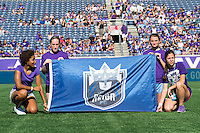 Orlando, Florida - Sunday, May 8, 2016: The Seattle Reign FC banner is displayed prior to a National Women's Soccer League match between Orlando Pride and Seattle Reign FC at Camping World Stadium.