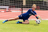 HOUSTON, TX - JUNE 12: Alyssa Naeher #1 of the USWNT makes a save during a training session at University of Houston on June 12, 2021 in Houston, Texas.