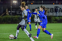 Charleroi midfielder Ines Dhaou (5) and Genk's midfielder Sien Vandersanden (10) pictured during a female soccer game between Sporting Charleroi and KRC Genk Ladies on the 9th matchday of the 2020 - 2021 season of Belgian Scooore Womens Super League , friday 11 th of December 2020  in Marcinelle , Belgium . PHOTO SPORTPIX.BE | SPP | STIJN AUDOOREN
