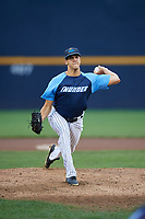 Trenton Thunder relief pitcher James Reeves (61) delivers a pitch during a game against the New Hampshire Fisher Cats on August 19, 2018 at ARM & HAMMER Park in Trenton, New Jersey.  New Hampshire defeated Trenton 12-1.  (Mike Janes/Four Seam Images)