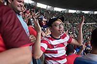 MEXICO CITY, MEXICO - June 11, 2017:  USA fans react to Michael Bradley's goal during the World Cup Qualifier match against Mexico at Azteca Stadium.