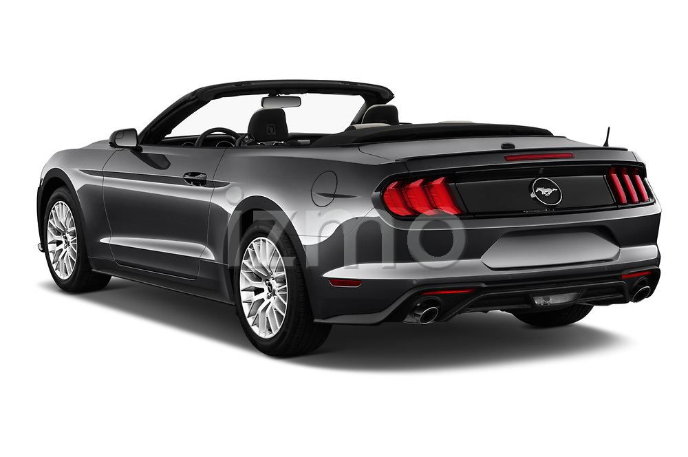 Car pictures of rear three quarter view of a 2018 Ford Mustang EcoBoost 2 Door Convertible angular rear