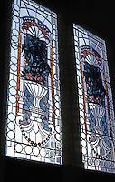 San Diego: Quartermass House. Stained glass windows. Photo '82.