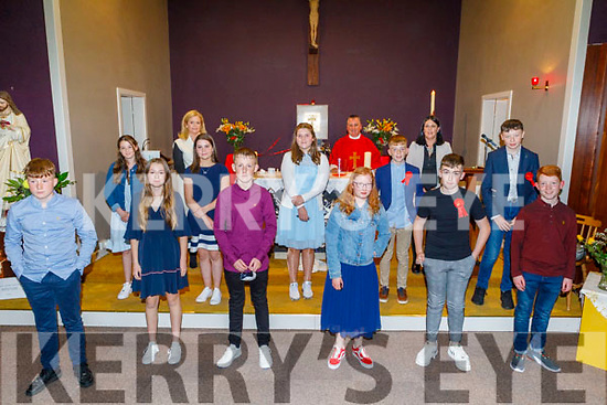 The class of former students from St Brendan's NS Fenit make their confirmation on Monday night in the Oratory in Fenit.<br /> Front row l to r: Shay O'Neill, Ashling Bell Chambers, Bobby Sugrue, Aaron Chute, Jayden Deady and Alex Chute. Middle row l to r: Ciara Brown, Cara Kelly, Saoirse Brown, Tom Quilter, Shane Williams and Fr Francis Nolan. Back row:  Mrs Ashling O'Sullivan (Principal), Fr Francis Nolan and Caroline O'Connor (Class Teacher)