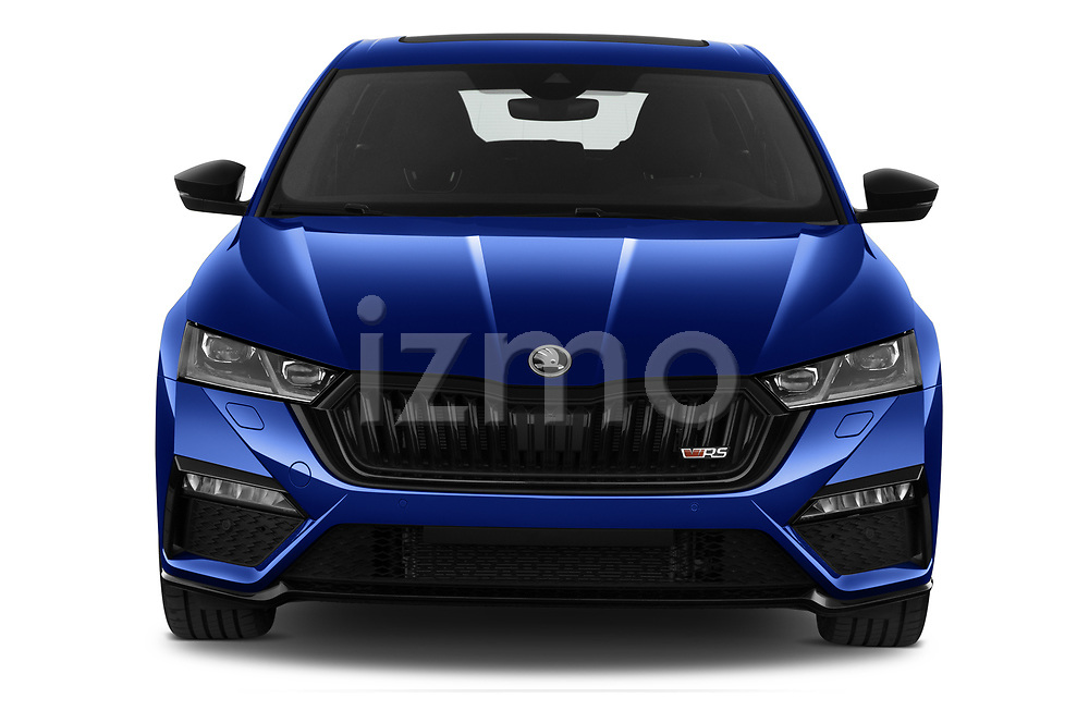 Car photography straight front view of a 2020 Skoda Octavia-Combi RS 5 Door Wagon Front View