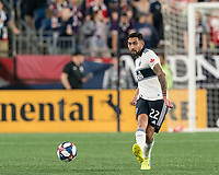 FOXBOROUGH, MA - JULY 18: Erik Godoy #22 passes the ball during a game between Vancouver Whitecaps and New England Revolution at Gillette Stadium on July 18, 2019 in Foxborough, Massachusetts.