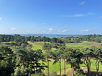 BNPS.co.uk (01202 558833)<br /> Pic: Savills/BNPS<br /> <br /> A luxurious flat with 'unrivaled' views of a prestigious golf club along with the Sandbanks peninsula has gone on the market for £1.5 million.<br /> <br /> The three bedroom apartment, located in the exclusive community of Canford Cliffs, Dorset, offers sweeping vistas of Poole Harbour and Brownsea Island. <br /> <br /> It is on the top floor of Forsyte Shades, a gated and secluded block overlooking the stunning Parkstone Golf Club.  <br /> <br /> As well as having its own private entrance onto the 17th fairway, the block has a private swimming pool, sauna and three acres of luscious green land surrounding it.
