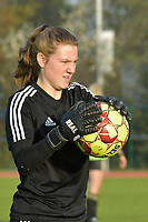 OHL's goalkeeper Faye Lammertijn  pictured during a female soccer game between SV Zulte - Waregem and Oud Heverlee Leuven on the sixth matchday of the 2020 - 2021 season of Belgian Scooore Women s SuperLeague , saturday 7 th of November 2020  in Zulte , Belgium . PHOTO SPORTPIX.BE   SPP   DIRK VUYLSTEKE