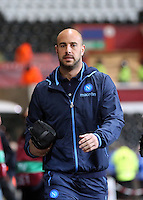 Swansea, UK. Thursday 20 February 2014<br /> Pictured: Pepe Reina of Napoli arriving.<br /> Re: UEFA Europa League, Swansea City FC v SSC Napoli at the Liberty Stadium, south Wales, UK