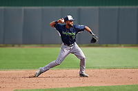 Vermont Lake Monsters second baseman Yerdel Vargas (2) throws to first base during a NY-Penn League game against the Aberdeen IronBirds on August 18, 2019 at Leidos Field at Ripken Stadium in Aberdeen, Maryland.  Vermont defeated Aberdeen 6-5.  (Mike Janes/Four Seam Images)