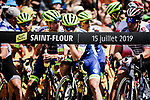 Ready to start Stage 10 of the 2019 Tour de France running 217.5km from Saint-Flour to Albi, France. 15th July 2019.<br /> Picture: ASO/Pauline Ballet | Cyclefile<br /> All photos usage must carry mandatory copyright credit (© Cyclefile | ASO/Pauline Ballet)