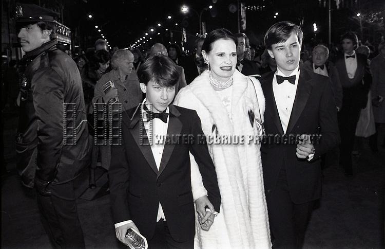 Gloria Vanderbilt with her two sons Anderson Cooper & Carter Vanderbilt Cooper on October 1, 1985 attending Night of 100 Stars at Radio City Music Hall in New York City.