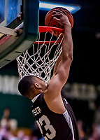 18 December 2018: St. Bonaventure University Bonnies Guard Jalen Poyser, a Junior from Malton, Ontario, dunks one on a breakaway in second-half action against the University of Vermont Catamounts at Patrick Gymnasium in Burlington, Vermont. The Catamounts defeated the Bonnies 83-76 in a double-overtime NCAA DI game. Mandatory Credit: Ed Wolfstein Photo *** RAW (NEF) Image File Available ***