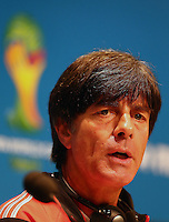 Germany coach Joachim Loew talks during the press conference
