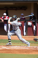 Chris McGowan (7) of the Kennesaw State Owls follows through on his swing against the Winthrop Eagles at the Winthrop Ballpark on March 15, 2015 in Rock Hill, South Carolina.  The Eagles defeated the Owls 11-4.  (Brian Westerholt/Four Seam Images)
