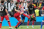 Mikel San Jose Dominguez (L2)  of Athletic Club fights for the ball with Tiago Cardoso Mendes (L3) of Atletico de Madrid  during their La Liga match between Atletico de Madrid vs Athletic de Bilbao at the Estadio Vicente Calderon on 21 May 2017 in Madrid, Spain. Photo by Diego Gonzalez Souto / Power Sport Images