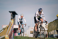 Wout van Aert (BEL/Cibel-Cebon) followed by Mathieu van der Poel (NED/Corendon-Circus) in the first lap > soon VDP will move up front (never to be seen again by his competitors...)<br /> <br /> Men Elite + U23 race<br /> Superprestige Ruddervoorde 2018 (BEL)