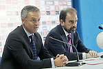 Getafe's new coach Fran Escriba (l) with the President Angel Torres during his official presentation. June 30, 2015. (ALTERPHOTOS/Acero)