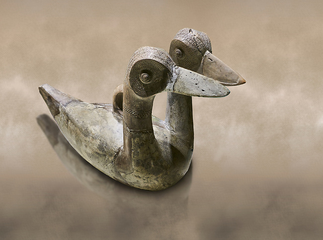 Hittite terra cotta ritual vessel in the shape of a duck with two heads - 16th century BC - Hattusa ( Bogazkoy ) - Museum of Anatolian Civilisations, Ankara, Turkey