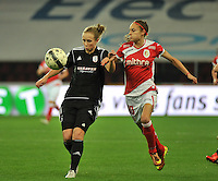 20131009 - LIEGE , BELGIUM : Standard's Tessa Wullaert (right) pictured with Glasgow's Eilish Mcsorley (left) during the female soccer match between STANDARD Femina de Liege and GLASGOW City LFC , in the 1/16 final ( round of 32 ) first leg in the UEFA Women's Champions League 2013 in stade Maurice Dufrasne - Sclessin in Liege. Wednesday 9 October 2013. PHOTO DAVID CATRY