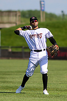 Wisconsin Timber Rattlers third baseman Gabriel Garcia (6) warms up prior to a game against the West Michigan Whitecaps on May 22, 2021 at Neuroscience Group Field at Fox Cities Stadium in Grand Chute, Wisconsin.  (Brad Krause/Four Seam Images)