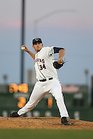Joe Musgrove (34) of the Lancaster JetHawks pitches during a game against the Lake Elsinore Storm at The Hanger on May 9, 2015 in Lancaster, California. Lancaster defeated Lake Elsinore, 3-1. (Larry Goren/Four Seam Images)