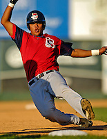3 September 2007:  Lowell Spinners outfielder Carlos Fernandez-Oliva in action against the Vermont Lake Monsters at Historic Centennial Field in Burlington, Vermont. The Lake Monsters defeated the Spinners 9-5 in New York-Penn League action...Mandatory Photo Credit: Ed Wolfstein Photo