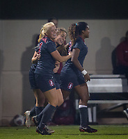 STANFORD, CA - November 9, 2018: Civana Kuhlmann, Carly Malatskey, Catarina Macario at Laird Q. Cagan Stadium. The top seeded Stanford Cardinal defeated the Seattle Redhawks 3-0 in the opening round of the NCAA tournament.