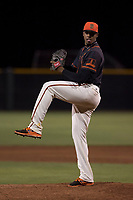 AZL Giants Black relief pitcher Abel Adames (35) delivers a pitch during an Arizona League game against the AZL Athletics at the San Francisco Giants Training Complex on June 19, 2018 in Scottsdale, Arizona. AZL Athletics defeated AZL Giants Black 8-3. (Zachary Lucy/Four Seam Images)
