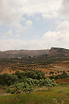 Samaria, a view of the western ridge of Mount Gerizim, on the cliff is the Palestinian village Irak Burin