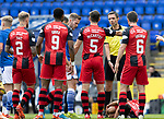 St Johnstone v St Mirren……29.08.20   McDiarmid Park  SPFL<br />Referee Kevin Clancy is surrounded after Jamie McGrath goes down injured<br />Picture by Graeme Hart.<br />Copyright Perthshire Picture Agency<br />Tel: 01738 623350  Mobile: 07990 594431