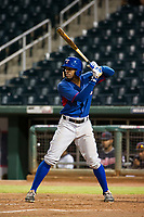 AZL Rangers center fielder Marcus Mack (2) at bat against the AZL Indians on August 26, 2017 at Goodyear Ball Park in Goodyear, Arizona. AZL Indians defeated the AZL Rangers 5-3. (Zachary Lucy/Four Seam Images)