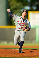 Danville Braves starting pitcher Andrew Waszak (36) in action against the Burlington Royals at Burlington Athletic Park on August 16, 2013 in Burlington, North Carolina.  The Royals defeated the Braves 1-0.  (Brian Westerholt/Four Seam Images)
