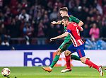 Jorge Resurreccion Merodio, Koke (R), of Atletico de Madrid fights for the ball with Anton Miranchuk of FC Lokomotiv Moscow during the UEFA Europa League 2017-18 Round of 16 (1st leg) match between Atletico de Madrid and FC Lokomotiv Moscow at Wanda Metropolitano  on March 08 2018 in Madrid, Spain. Photo by Diego Souto / Power Sport Images