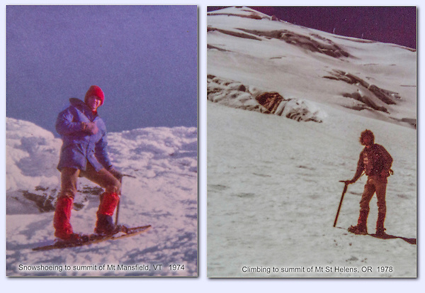 "Back then, there was the book, ""Freedom of the Hills,"" and lots of mistakes. John atop Mount Mansfield, Vermont in January (left). New to the Pacific northwest, I climbed Mount St. Helens solo, rather naive. I wised up and eventually became a senior climbing instructor for the Colorado Mountain Club, when I moved to Boulder."