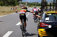 11th July 2021, Ceret, Pyrénées-Orientales, France; Tour de France cycling tour, stage 15, Ceret to  Andorre-La-Vieille;  VAN AERT Wout (BEL) of JUMBO-VISMA put ice during stage 15 of the 108th edition of the 2021 Tour de France cycling race, a stage of 191,3 kms between Ceret and Andorre-La-Vieille
