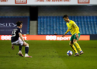 2nd February 2021; The Den, Bermondsey, London, England; English Championship Football, Millwall Football Club versus Norwich City; Dimitris Giannoulis of Norwich City is marked by Dan McNamara of Millwall