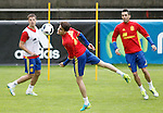 Spain's Cesar Azpilicueta, Marc Bartra and Mario Gaspar during preparing training stage to Euro 2016. May 30,2016.(ALTERPHOTOS/Acero)