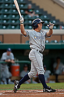 Anthony Scelfo (9) of the Charlotte Stone Crabs during a game vs. the Lakeland Flying Tigers May 11 2010 at Joker Marchant Stadium in Lakeland, Florida. Charlotte won the game against Lakeland by the score of 3-0.  Photo By Scott Jontes/Four Seam Images
