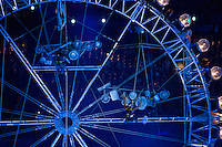 12 AUG 2012 - LONDON, GBR - Members of Stomp perform on a model of the London Eye during the London 2012 Olympic Games Closing Ceremony in the Olympic Stadium in the Olympic Park, Stratford, London, Great Britain (PHOTO (C) 2012 NIGEL FARROW)