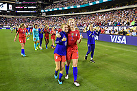 PHILADELPHIA, PA - AUGUST 29: Emily Sonnett #14 and Samantha Mewis #3 of the United States during a game between Portugal and USWNT at Lincoln Financial Field on August 29, 2019 in Philadelphia, PA.