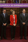 Health Minister Alfonso Alonso, Queen Letizia of Spain and senate President Pio Garcia-Escudero attend the Rare Diseases World Day Event organized by FEDER in Madrid, Spain. March 05, 2015. (ALTERPHOTOS/Victor Blanco)