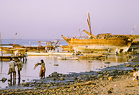 Kuwait October 1966.  Kuwaiti Boom (Dhow) on the Sief Waterfront in Late Afternoon at Low Tide.