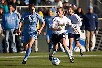 Notre Dame Fighting Irish midfielder Brittany Bock (10) and North Carolina Tar Heels midfielder Yael Averbuch (17). The North Carolina Tar Heels defeated the Notre Dame Fighting Irish 2-1 during the finals of the NCAA Women's College Cup at Wakemed Soccer Park in Cary, NC, on December 7, 2008. Photo by Howard C. Smith/isiphotos.com