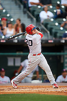 Louisville Bats first baseman Jordan Pacheco (20) at bat during a game against the Buffalo Bisons on June 20, 2016 at Coca-Cola Field in Buffalo, New York.  Louisville defeated Buffalo 4-1.  (Mike Janes/Four Seam Images)