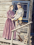 """A Confederate infantryman says good bye to his wife before returning to fight in the American Civil War. Oil on canvas, 26"""" x 20""""."""