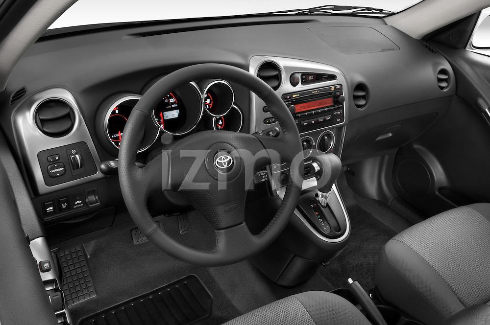 High angle dashboard view of a 2008 Toyota Matrix wagon