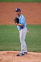 Charlotte Stone Crabs starting pitcher Brent Honeywell (32) looks in for the sign during a game against the Clearwater Threshers on April 12, 2016 at Bright House Field in Clearwater, Florida.  Charlotte defeated Clearwater 2-1.  (Mike Janes/Four Seam Images)