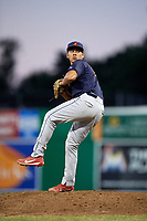 State College Spikes relief pitcher Edgar Gonzalez (47) delivers a pitch during a game against the Batavia Muckdogs on July 7, 2018 at Dwyer Stadium in Batavia, New York.  State College defeated Batavia 7-4.  (Mike Janes/Four Seam Images)