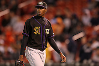 May 3, 2010:  Starting pitcher Aroldis Chapman (51) of the Louisville Bats walks off the field after the fifth inning of a game vs. the Buffalo Bisons at Coca-Cola Field in Buffalo, NY.   Louisville defeated Buffalo by the score of 20-7, Chapman got the win on the mound.  Photo By Mike Janes/Four Seam Images